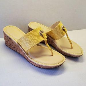 NEW Liz Claiborne Lively Yellow Wedge Sandals